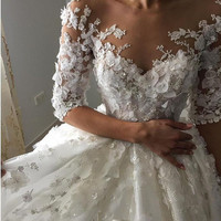 Lace Flowers Ball Gown Wedding Dresses Sexy Sheer Backless Half Sleeve Wedding Dress
