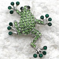 Green Rhinestone Frog Pin Brooches 1.38 x 1.58 inches(3.5 x 4cm) FREE SHIPPING