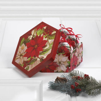 Poinsettia Christmas Ornament Box Set