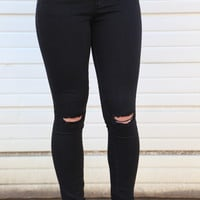 Sarah Knee Slit Skinnies {Black}