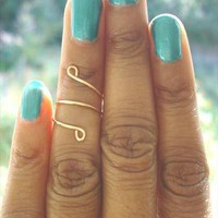 Above The Knuckle Ring Gold Midi Ring Swirl from azteclovers