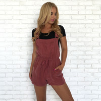 Fig & Marsala Silk Romper & Short Overalls