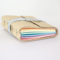 Leather journal, rainbow pages, travel journal, travel notebook, leather diary sketchbook, leather notebook, blank book, hand bound cream