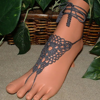 Pewter crochet anklets barefoot sandals shoes foot jewelry yoga hippie boho gypsy bracelets thongs chains legwear beachwear accessories