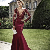 Long Sleeve Beading Burgndy Prom Dresses Evening Dresses
