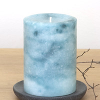 """Teal Pillar Candles with Marble Effect 3 x 4"""""""