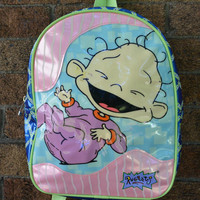 Vintage Rugrats Mini Backpack, 90's, Cartoon, Pop Culture, Teen, Bubble Gum Pink, Lime Green, Dil Pickles