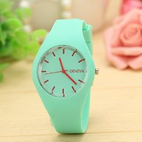 Sannysis Leisure Sports Candy colored Jelly Watch Silicone Strap Light Green