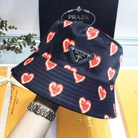 PRADA New Popular Women Men Heart Pattern Sun Hat Baseball Cap Hat Fisherman Hat