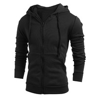 FUNOC Mens Long Sleeve Slim Fit Hoodie Front Zip With Pocket Outwear Jacket