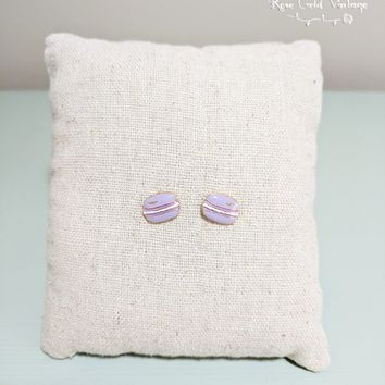 Macaron Stud Earrings - Purple