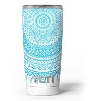 Bright Blue Circle Mandala v3 - Skin Decal Vinyl Wrap Kit compatible with the Yeti Rambler Cooler Tumbler Cups