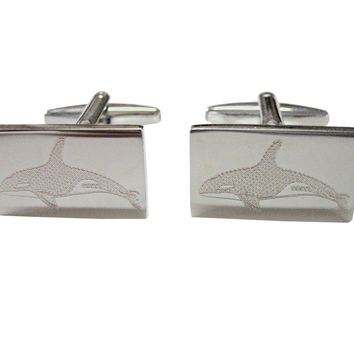 Silver Toned Etched Swimming Killer Whale Orca Cufflinks