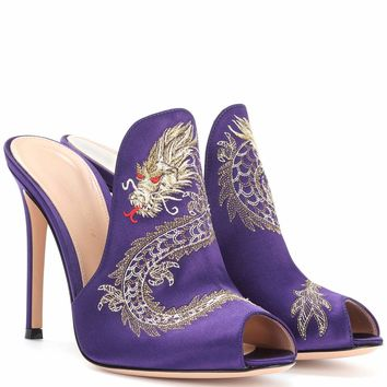Dragon embroidered satin mules