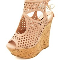 Laser Cut-Out Peep Toe Platform Wedges by Charlotte Russe - Rose