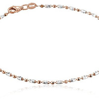 Italian Rose Gold-Tone and Polished Sterling Silver Mezzaluna Chain Anklet