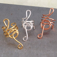 Treble Clef Abstract Ear Cuff Non Pierced by TheLazyLeopard