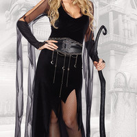 Black Mesh Sleeve Asymmetrical Witch Costumes