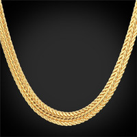 New Men's Classic 18K Real Gold Plated Chunky Chain Necklace