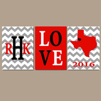 Texas Tech Red Raiders Chevron Family College Monogram Initial State LOVE School University Gift Wedding Set of 3 Wall Art Canvas or Print
