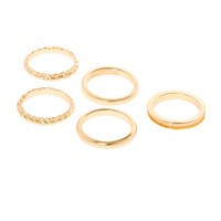 Gold Polished and Textured Band Rings Set of 5