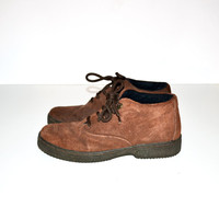 Vintage Brown Shoes Leather Keds Shoes Ankle Boots Brown Suede Shoes Brown Size 7