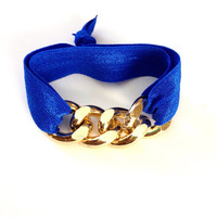 Gold Chain Cobalt Blue Bright Arm Candy Hair Tie Curb Pony Jewelry Stretch Elastic Fold Over Embellished Gift Girls