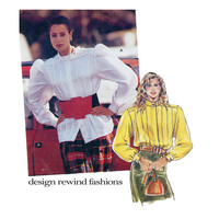 POET'S BLOUSE PATTERN Pleated Blouse Pattern Puff Sleeves Romantic Blouses Shirts Tops Size  12 - 40 Burda 5643 Womens Sewing Patterns