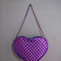 VINTAGE 90s grunge xl l  HEART TOTE bag purse - chain strap quilt metallic purple pink hologram - club kid raver psychedelic kawaii fruits