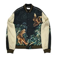 Indie Designs Saint laurent Inspired Brown Eagle & Tiger Teddy Jacket