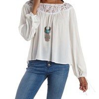 White Lace Yoke Peasant Top by Charlotte Russe