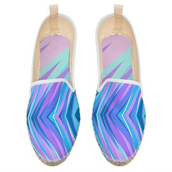 Blue Pink Abstract Eighties Loafer Espadrilles by The Photo Access