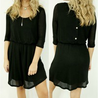 On My Mind Black Waffle Knit Dress With Button Down Back