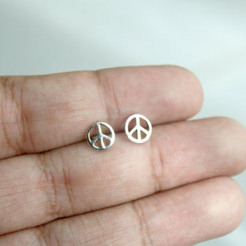 925 Sterling Silver Peace Sign Stud Earrings - Tiny Stud Earrings - Peace Sign Jewelry, Second Holes Studs, Cute Post Earrings, Gift for her