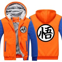 Hot New Anime Dragon ball Thick Hoodie Son Goku Sun Wukong Winter Tracksuit Fleece Mens Zip up Sweatshirts Plus size