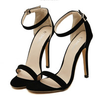 Fashion hot sale high heel pure color sandal trend high heel