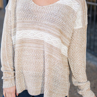 Coming On Home Sweater, Taupe