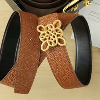 LOEWE New fashion women and men high quality texture belt Brown