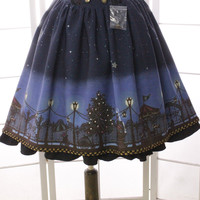 2017 New Short Skirt Sweet Starry Playground Night Printed A line Lolita Skirt with Ruffles