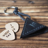 Handmade Leather Guitar Pick Holder Guitar Accessories Personalized gifts#Black