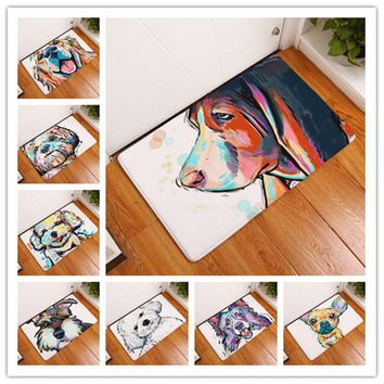 Autumn Fall welcome door mat doormat MDCT Lovely Rainbow Painting Dog Print Floor Mat  Anti-slip Carpet Outdoor Area Rugs Animal Welcome Entrance Front s AT_76_7