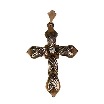 Antique 14k Rose Gold Cross with 14k White Gold and Rock Crystal