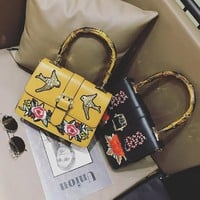 LMFON Women Fashion Retro Embroidery Flower Bird Single Shoulder Messenger Bag Bamboo Festival Handbag
