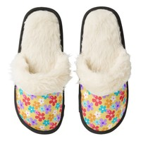 Cheerful Yellow Floral pattern Fuzzy Slippers