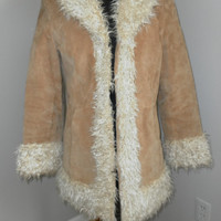Vtg Suede Jacket with faux fur Hippie Gypsy Boho Coat M