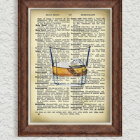 Bourbon Decor Art Print on Upcycled Dictionary pages Unique Cocktail art Kitchen Wall Decor Whiskey Print Vintage Bar Drink art print