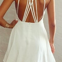 White Cut Out Strappy A-Line Dress