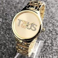 TOUS Popular Woman Casual Quartz Movement Watch Wristwatch Golden