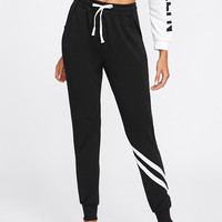 Drawstring Waist Striped Trim Sweatpants -SheIn(Sheinside)