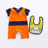 Dragon ball Anime Dragonball Z Son Goku Tshirt Orange baby infant Child sleepwear cotton jumpsuit Cosplay costume with gift